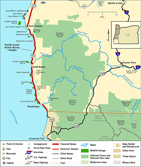 Byway Map For Southern Oregon Coast